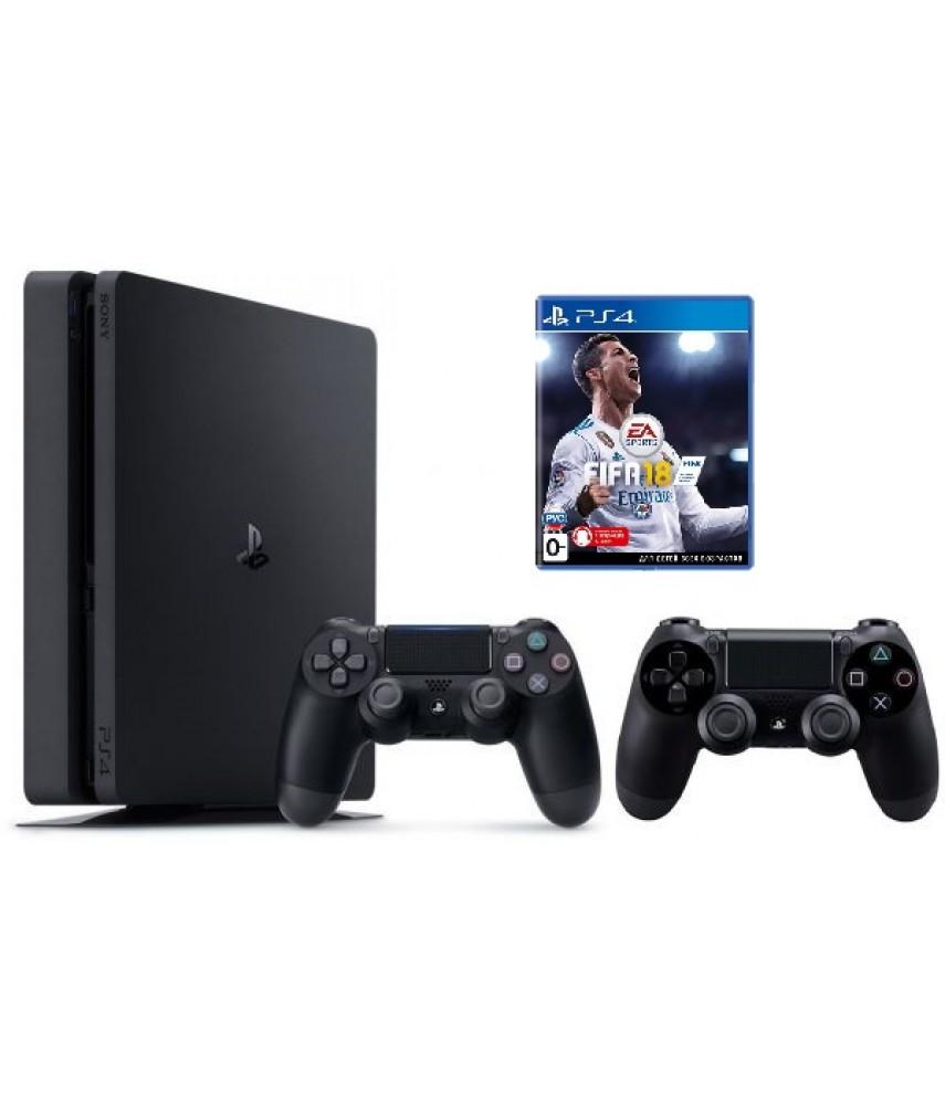 Sony PlayStation 4 Slim 1TB Black + игра FIFA 18 + 2-ой джойстик Dualshock 4 - Б/У