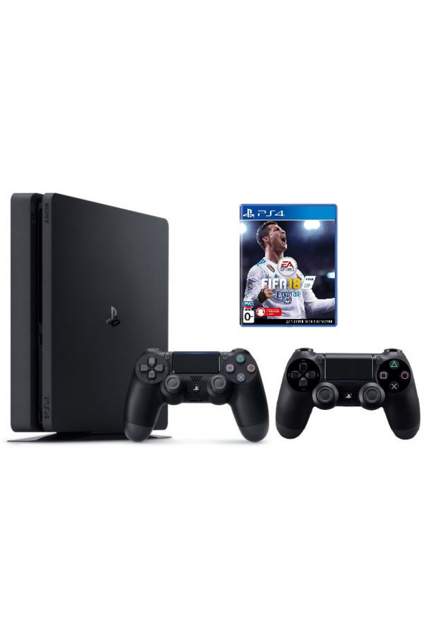 Sony PlayStation 4 Slim 1TB Black + игра FIFA 18 + 2-ой джойстик Dualshock 4 - Б/У