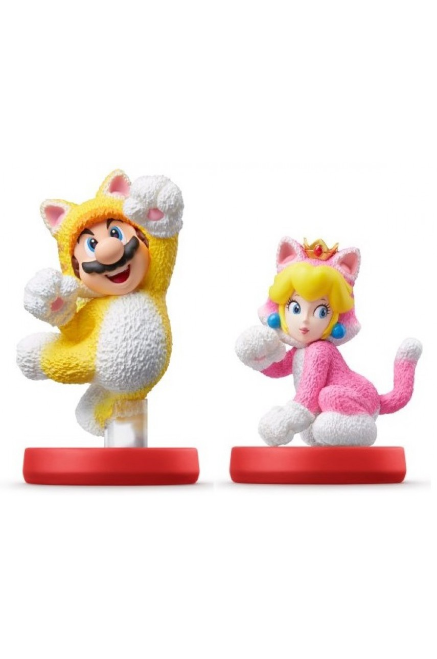 Набор из 2-х фигурок Amiibo Марио-кот и Пич-кошка (коллекция Super Mario)