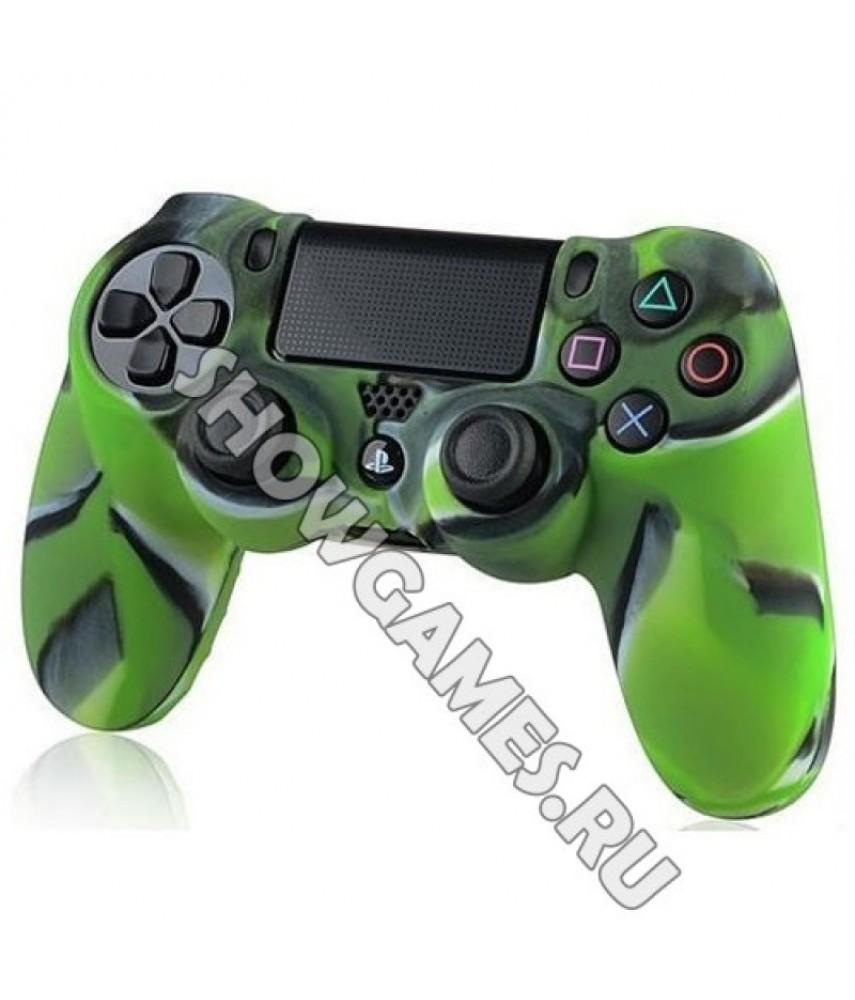 Силиконовый чехол для джойстика Dualshock 4 (камуфляж зелёный/чёрный)