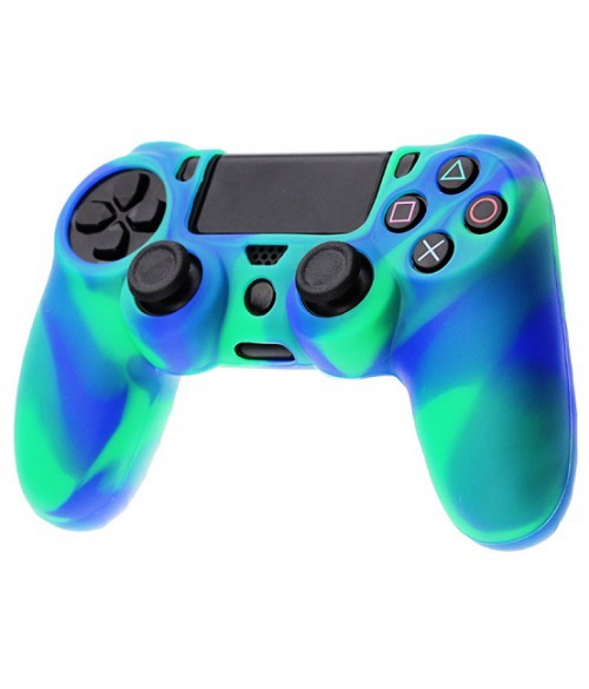 Силиконовый чехол для джойстика Dualshock 4 (камуфляж зелёный/синий)