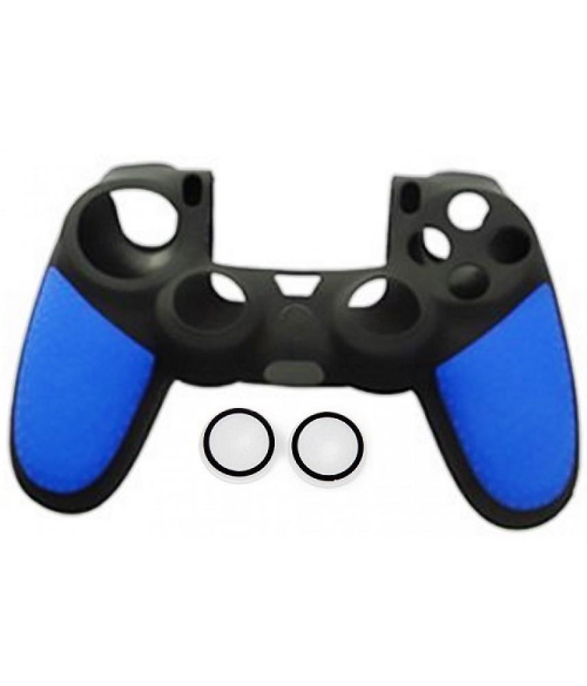 Силиконовый чехол + насадки на стики PS4 (Hand Blue)