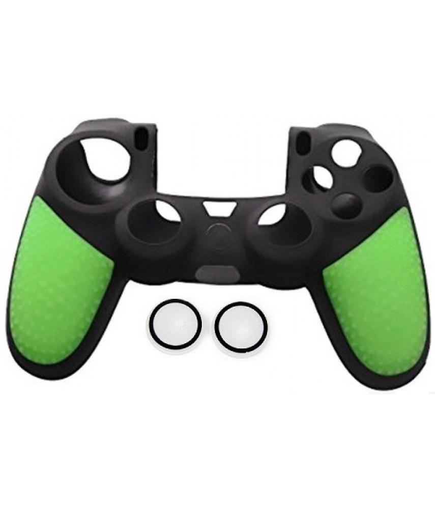 Силиконовый чехол + насадки на стики PS4 (Hand Green)