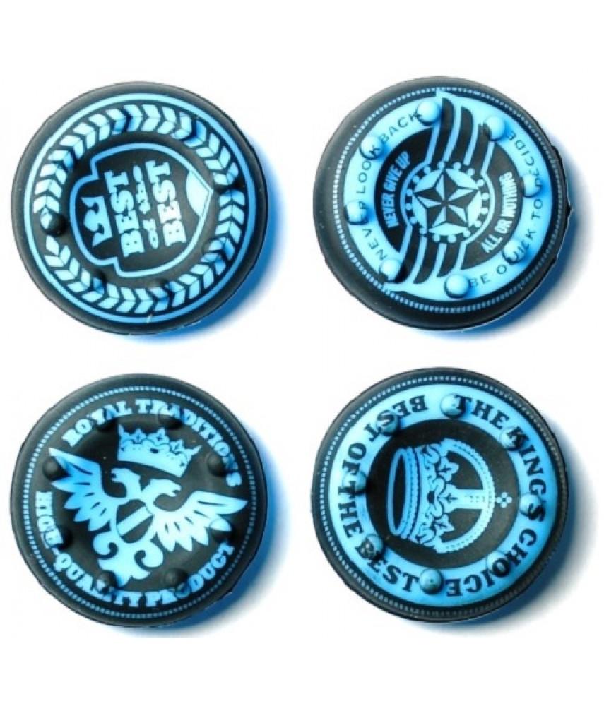 Насадки на стики Cover for Stick Silicon 4 в 1 Royal Black/Blue (PS4/Xbox One) (4 шт)