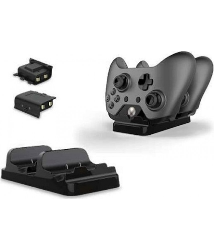 Зарядная станция джойстиков Xbox One + 2 аккумулятора [Black Horns]