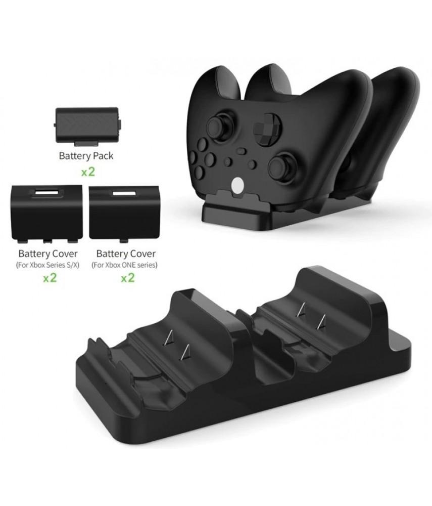 Зарядная станция для 2-x геймпадов + 2 аккумулятора для Xbox One/Series X/S